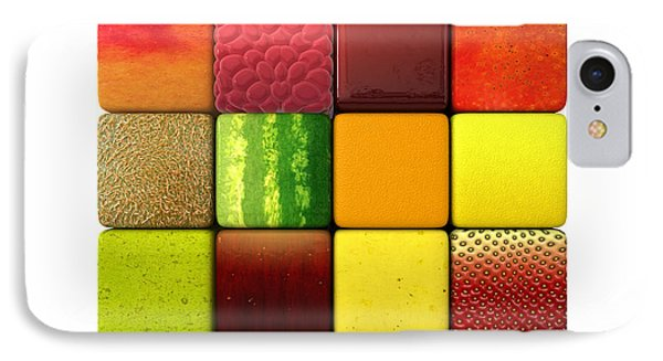 Raspberry iPhone 7 Case - Fruit Cubes by Allan Swart
