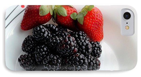 Fruit IIi - Strawberries - Blackberries Phone Case by Barbara Griffin