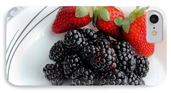 Fruit Iv - Strawberries - Blackberries Phone Case by Barbara Griffin