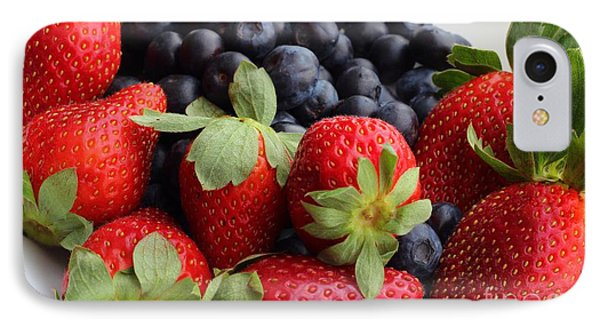 Fruit - Strawberries - Blueberries Phone Case by Barbara Griffin