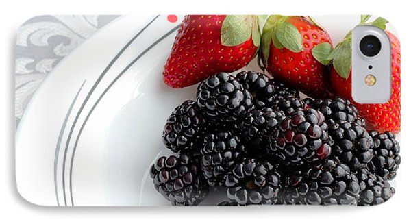 Fruit V - Strawberries - Blackberries Phone Case by Barbara Griffin