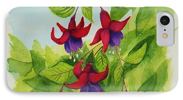 Fuchsias IPhone Case by Katherine Young-Beck