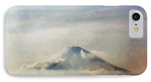 IPhone Case featuring the painting Fuji Among The Clouds by Kai Saarto