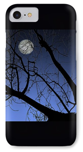 Full Moon And Black Winter Tree Phone Case by Ben and Raisa Gertsberg