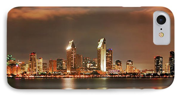 IPhone Case featuring the photograph Full Moon And San Diego Skyline Panorama by Lee Kirchhevel