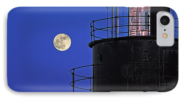 Full Moon And West Quoddy Head Lighthouse Beacon IPhone Case by Marty Saccone