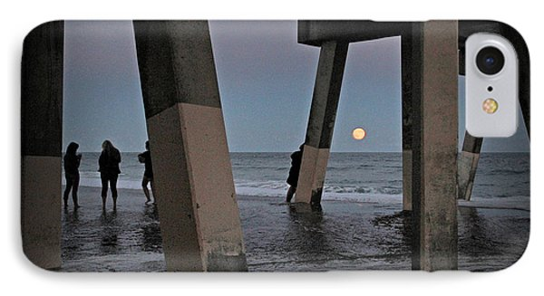 IPhone Case featuring the photograph Full Moon At Johnnie Mercer's Pier by Phil Mancuso