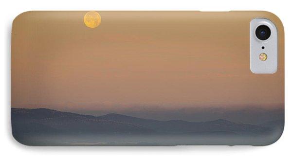 Full Moon At Sunrise Over Spanish Coast Phone Case by Deborah Smolinske