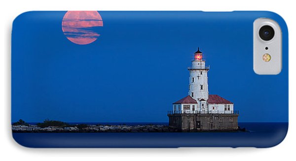 Full Moon Over Chicago Harbor Lighthouse IPhone Case