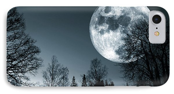 Full Moon Over Dark Forest IPhone Case by Christian Lagereek