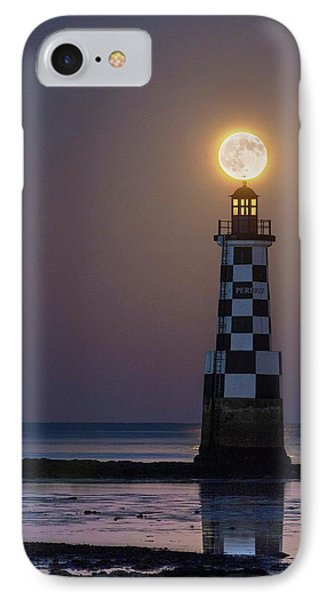 Full Moon Over Lighthouse IPhone Case by Laurent Laveder
