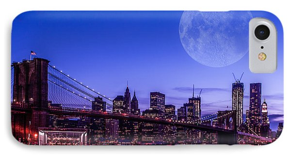Full Moon Over Manhattan II Phone Case by Hannes Cmarits