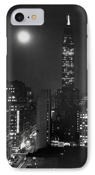 Full Moon Over Manhattan IPhone Case by Underwood Archives