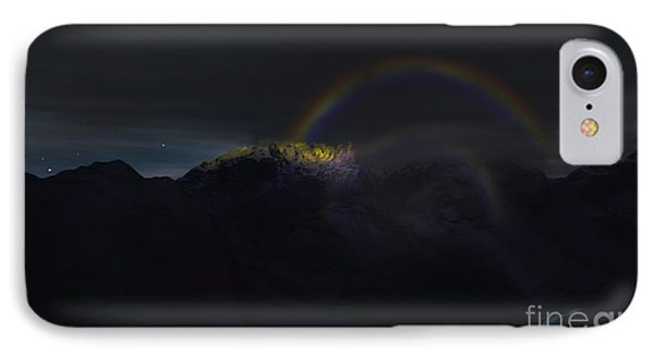 IPhone Case featuring the painting Full Moon Rainbow by Pet Serrano