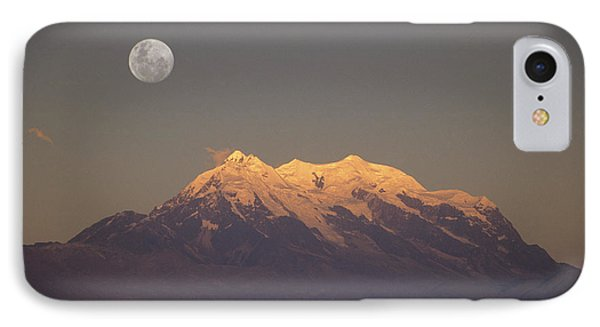 Full Moon Rise Over Mt Illimani Phone Case by James Brunker