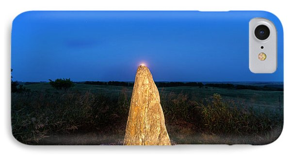 Full Moon Rises Over Standing Rock IPhone Case by Chuck Haney