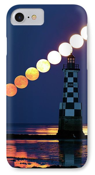 Full Moon Rising Over Lighthouse IPhone Case by Laurent Laveder