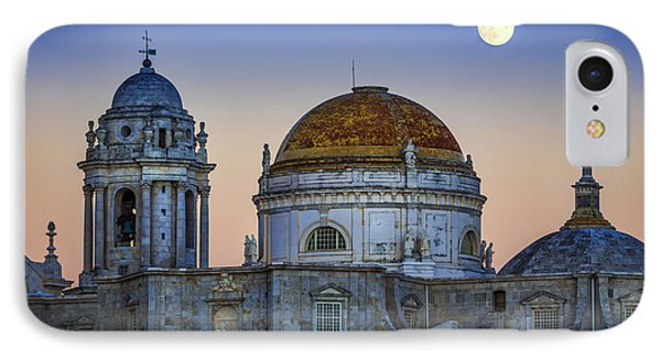 Full Moon Rising Over The Cathedral Cadiz Spain IPhone Case by Pablo Avanzini