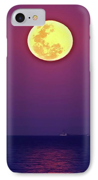 Full Moon Rising Over The Sea IPhone Case by Luis Argerich
