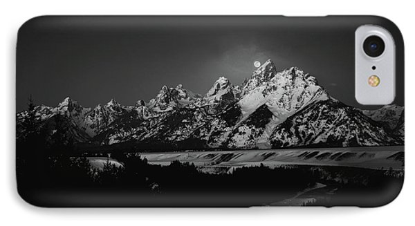 Full Moon Sets In The Teton Mountain Range IPhone Case