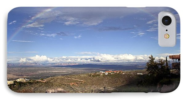 IPhone Case featuring the photograph Full Rainbow Over Jerome by Ron Chilston