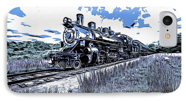 Full Steam Through The Meadow Graphic IPhone Case by Edward Fielding