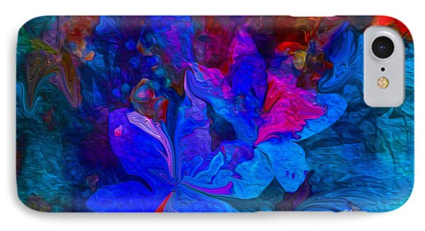 Fun Abstract Flowers In Blue Phone Case by Sherri's Of Palm Springs