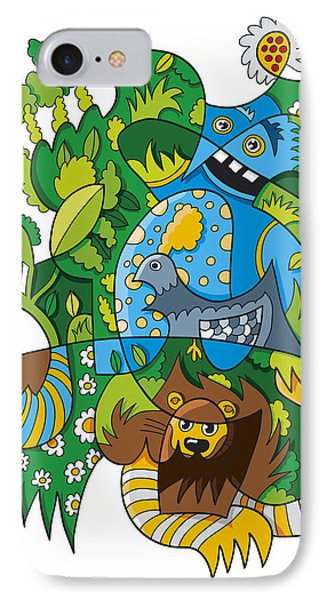 Funky Animals Nature Doodle IPhone Case by Frank Ramspott