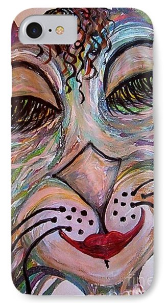 IPhone Case featuring the painting Funky Feline  by Eloise Schneider