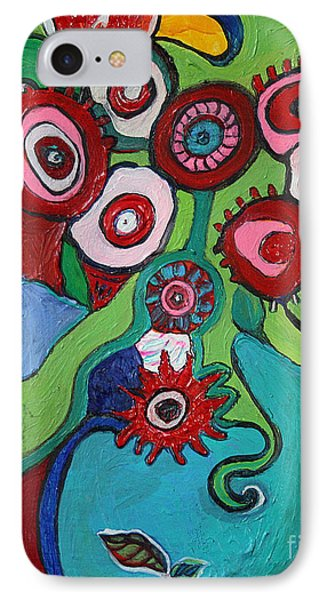 IPhone Case featuring the painting Funky Flowers And Vase by Alison Caltrider