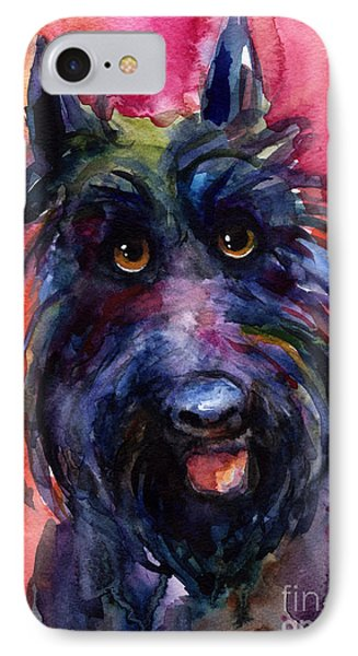 Funny Curious Scottish Terrier Dog Portrait IPhone Case by Svetlana Novikova