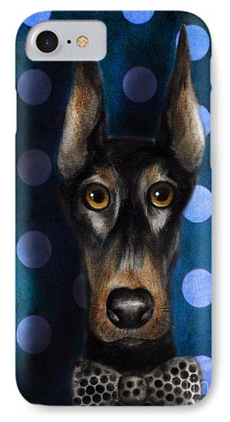 Funny Doberman Pincher Gentleman Dog Portrait IPhone Case by Svetlana Novikova