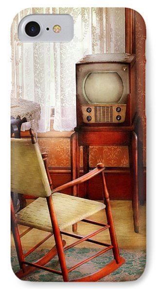 Furniture - Chair - The Invention Of Television  Phone Case by Mike Savad