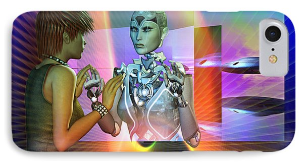 IPhone Case featuring the digital art Futuristic Reality by Shadowlea Is