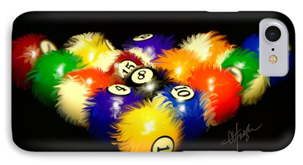 IPhone Case featuring the painting Fuzzy Billiards by Chris Fraser