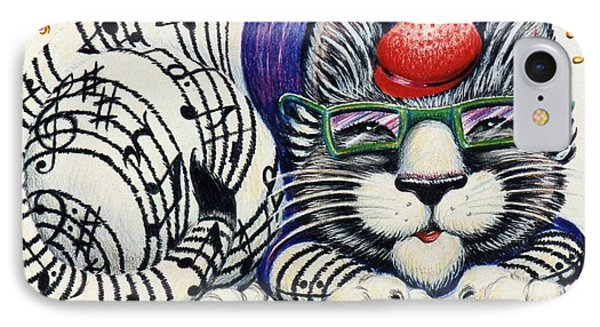 IPhone Case featuring the drawing Fuzzy Catterwailen by Dee Davis