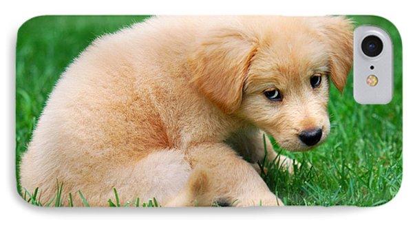 Fuzzy Golden Puppy IPhone Case