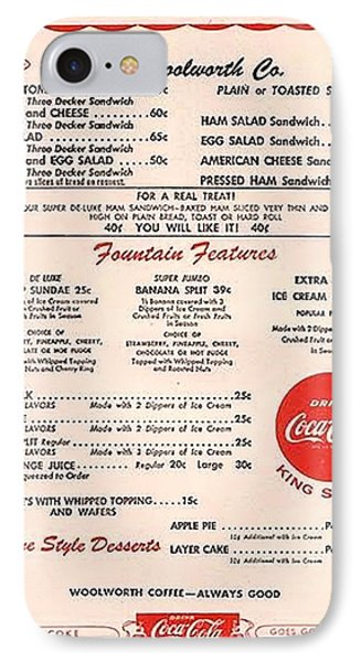 Fw Woolworth Lunch Counter Menu IPhone Case by Thomas Woolworth