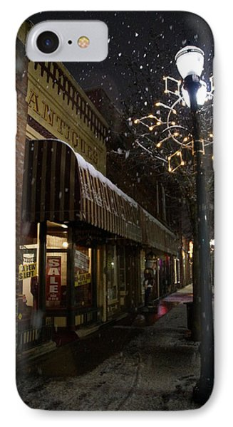 G Street Antique Store In The Snow Phone Case by Mick Anderson