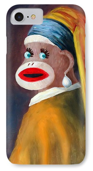 IPhone Case featuring the painting Gal With A Pearl Earbob by Randol Burns