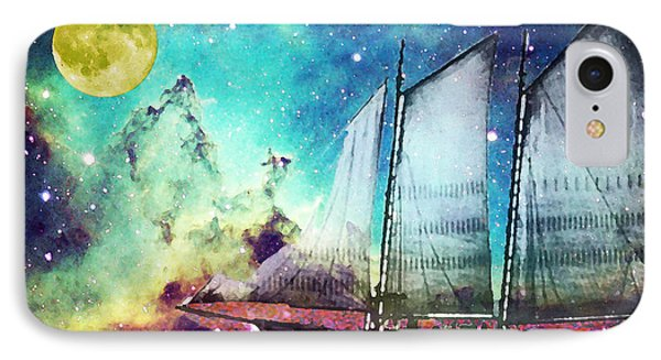 Boat iPhone 7 Case - Galileo's Dream - Schooner Art By Sharon Cummings by Sharon Cummings