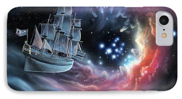 Galleon Amongst The Stars IPhone Case by Richard Bizley