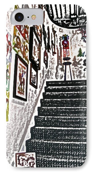 IPhone Case featuring the digital art Gallery Stairs by Kathleen Stephens