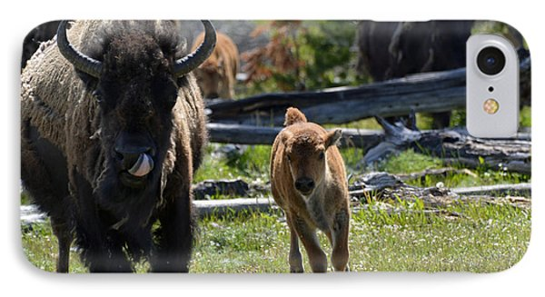 Gallopin Bison Mom And Calf Phone Case by Bruce Gourley