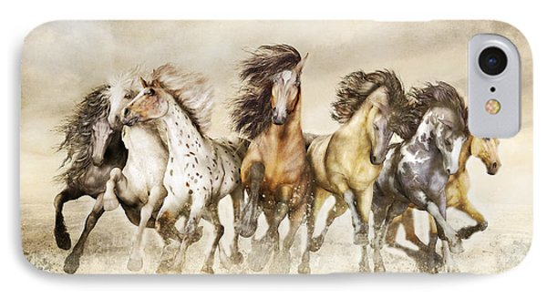 Galloping Horses Magnificent Seven IPhone Case by Shanina Conway