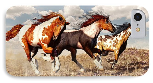 Galloping Mustangs IPhone Case by Daniel Eskridge