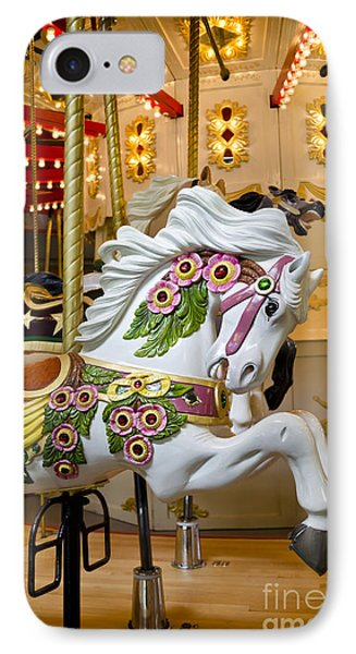 IPhone Case featuring the photograph Galloping White Beauty - Vintage Carousel Horse by Maria Janicki