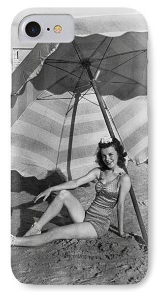 Galveston Beach Girl IPhone Case by Underwood Archives