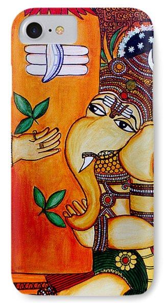 IPhone Case featuring the painting Ganapathy by Saranya Haridasan