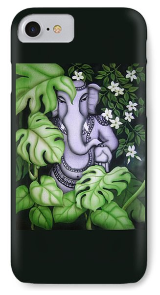 Ganesh With Jasmine Flowers Phone Case by Vishwajyoti Mohrhoff